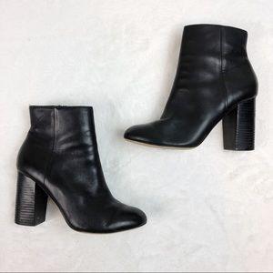 Aldo Black Leather Chunky Block Heel Booties